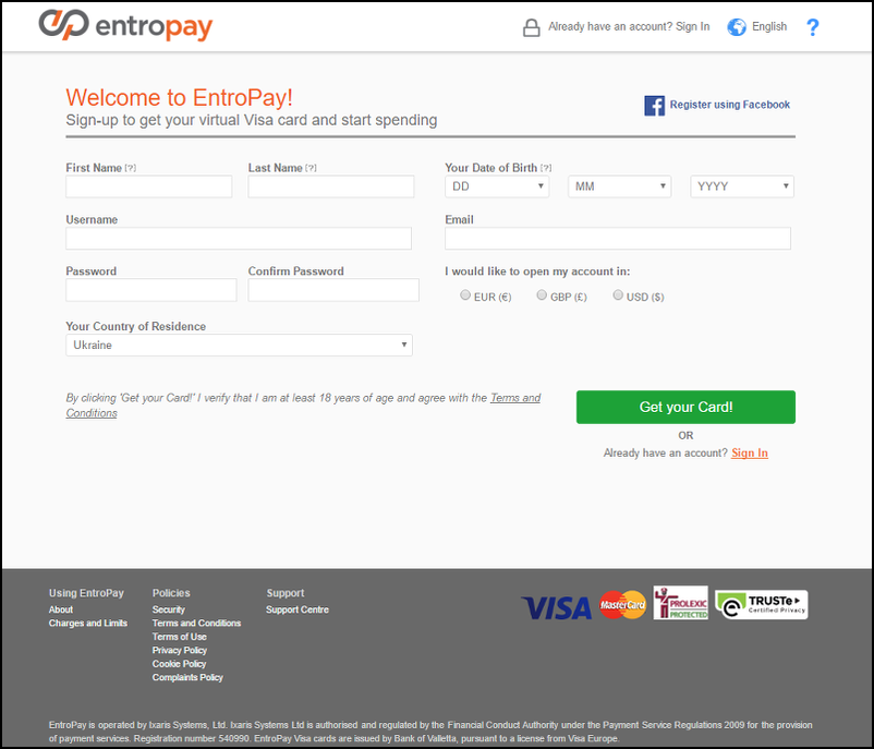 Fill in Form to Get Your EntroPay Account for Casino Playing